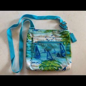 Coach Beach Scene Sailboat Nylon Crossbody Bag